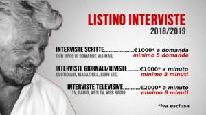 Beppe Grillo pubblica sul blog il tariffario per le interviste