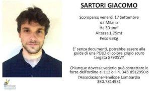 Milano, Giacomo Sartori scomparso nel nulla: anche una pagina Facebook per trovarlo